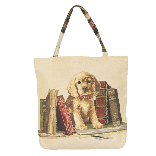"45/45 Shopper, Gobelin ""Hund & Bücher"""